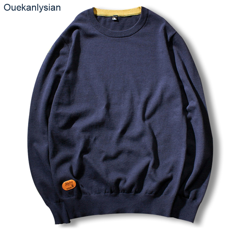 Ouekanlysian New Autumn Pull Sweater For Men 100 Cotton O neck Solid Slim Fit Pullover Sweaters