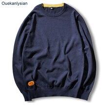 Ouekanlysian Новая осень тянуть свитер для мужчин 100% хлопок o-образным вырезом Solid Slim Fit пуловер Свитера Повседневный вязаный Sueter Hombre
