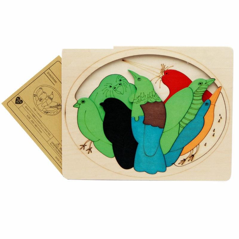 Gratis frakt barn / barn pedagogiska träleksaker multilayer tecknad - Spel och pussel - Foto 5