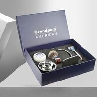 Grandslam Mens Safety Razor Shaving Gift Set Cartridge 5 Blades Shaver Best Badger Shaving Brush Holder Barber Shave Soap Bowl