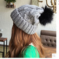 2016 Winter Wool Knitted Beanies Faux Fur Pompom Caps Women Winter Hats Fashion Female Skullies Gorro