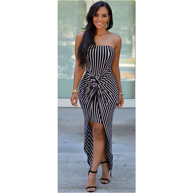 US $8.57 16% OFF|Fashion Women\'s Strapless Maxi Dress Plus Size Summer Long  Dress Ladies Black and White Vertical Striped Print Sundress Cover Up-in ...