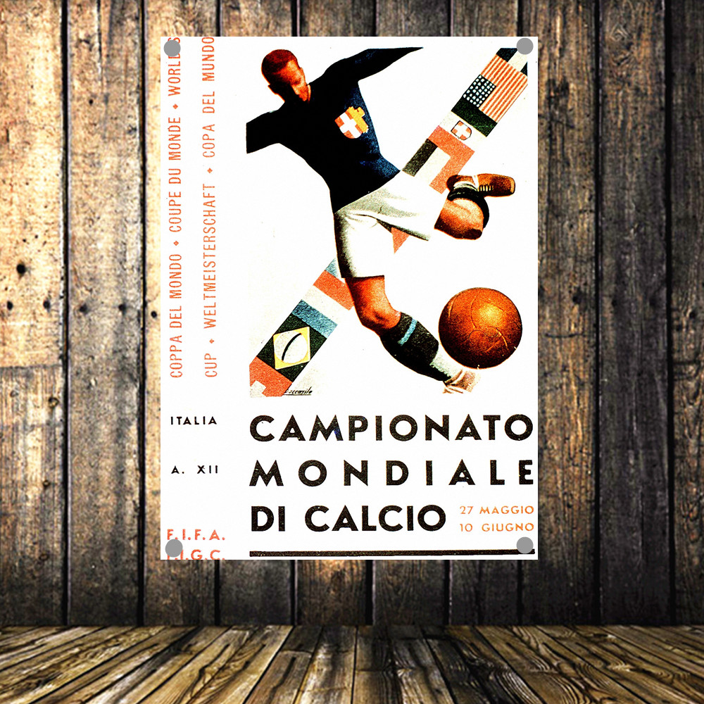 1934 Italy World Cup Large Vintage Football Poster Banner Flag Tapestry HD Senior Art Cloth Painting Wall Chart Home Decor
