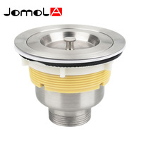 JOMOLA 3 1 2 Inch Kitchen Sink Strainer Stopper SUS304 Stainles Steel Brushed Drainers With Portable
