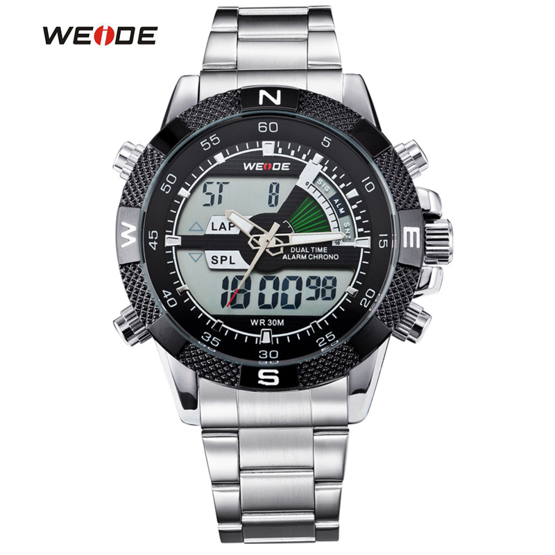 WEIDE Luxury Brand Men Watches Sports Waterproof Military Watch LCD Display Analog Digital Date Alarm Full Steel Wristwatch weide wh2309b military sports quartz watch double movts analog digital led dual time display alarm wristwatch for men