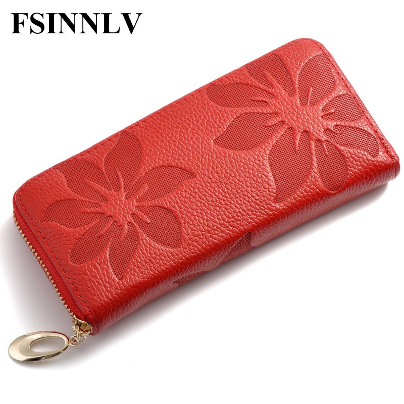 FSINNLV Genuine Leather Wallet for Women Lady Long Wallets Women Purse 6 Colors Wallet female Card Holder women clutch DC10 high quality floral wallet women long design lady hasp clutch wallet genuine leather female card holder wallets coin purse