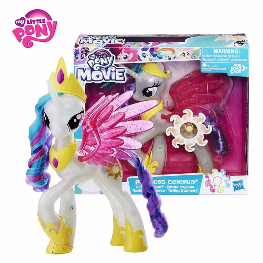 Hasbro My Little Pony Movie Toy For Kids Gift Universe Princess Action Figure PVC Collectible Model Doll With Four Lighting Mode 2018 my little pony toys the movie dj pon 3 big mcintosh rainbow dash pinkie pie rarity pvc action figure collectible model doll