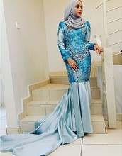 MZYDH03 2016 Elegant Lace Appliques Muslim Wedding Dress With Hijab Dubai/Arabic Crystals Long Sleeve Mermaid Bridal Gown