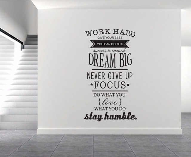 Yanqiao Work Hard Dream Big Wall Sticker Quote Letter Office Family