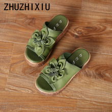 ZHUZHIXIU-2018 summer new style women's cool slippers, genuine leather slippers,muffins bottom,thick bottom fish mouth slippers.
