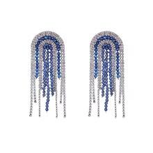 New Luxury Dangling Tassel earings Rhinestone statement earrings for women blue crystal fringe Drop Earrings fashion jewelry
