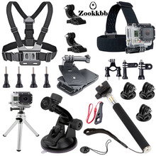 Zookkbb For Gopro Accessories Kit 18 in 1 Chest Head Strap Extendable Handle Suction Cup Bike Handlebar for Gopro Hero 4 3+ 3