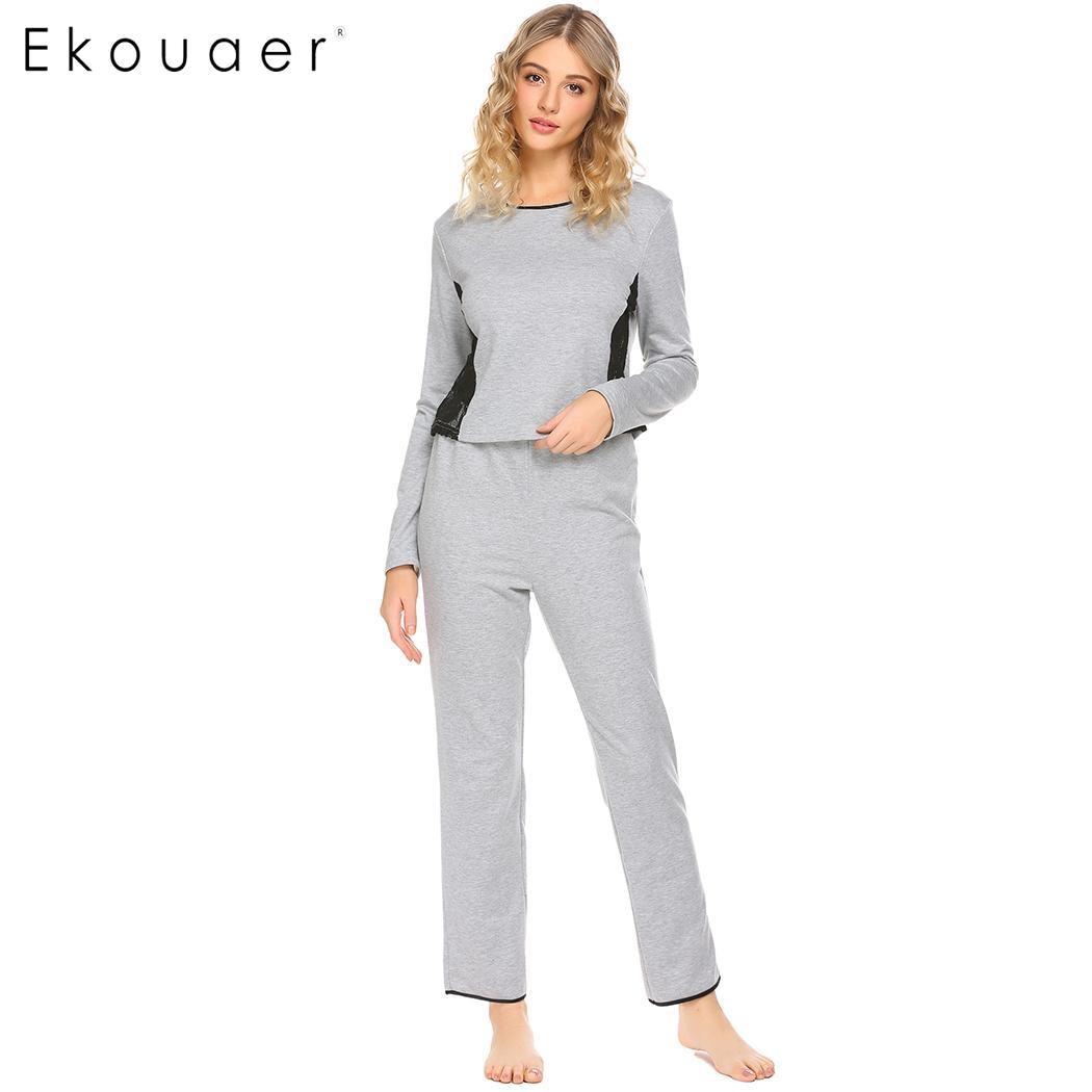 Ekouaer Women   Pajamas     Set   Sleepwear Lace Patchwork Scoop Neck Long Sleeve Tops Elastic Waist Pants Nightwear   Pajama     Sets