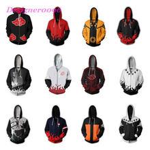 Anime Naruto cos Uchiha Itachi Cosplay costume Hokage clothes Uzumaki Sasuke Adult printed zipper hooded sweater