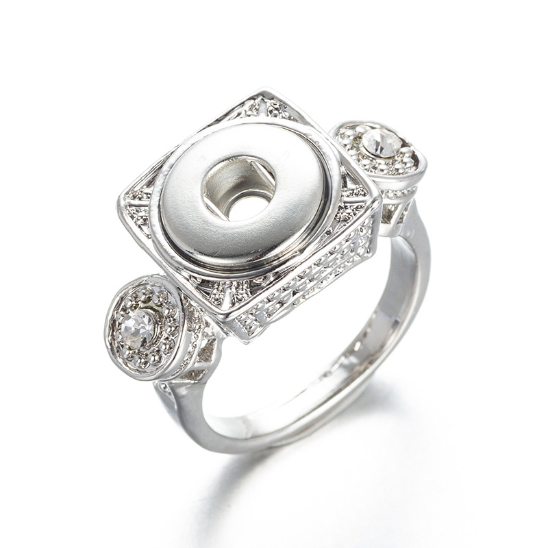 New Crystal vintage ring suitable for 12mm snap button charm ring Men's and women jewelry EL-03 image