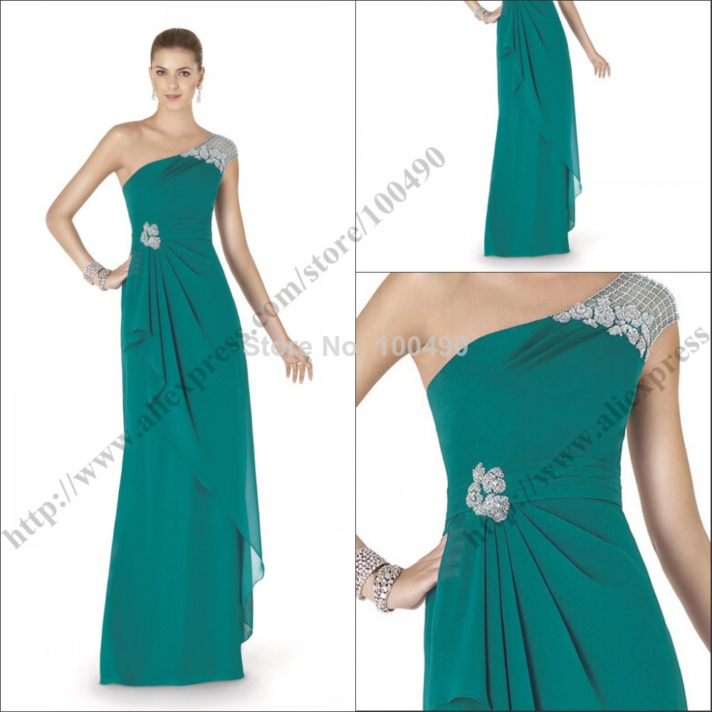 Unique Style ANALIA Teal Green Long Gown With Silver Beading Casual ...
