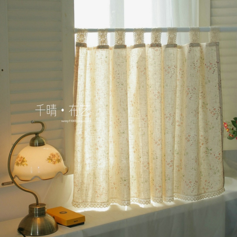 Free Shipping Elegant Floral Cotton Linen Lace Pastoral Short Curtain Kitchen  Curtains For Living Room Bedroom Drapes Customized
