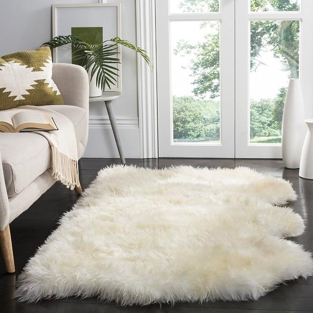 Real Sheepskin Rug Three Pelt Sofa Chair Cover Seat Pad Bay Window Genuine Blanket