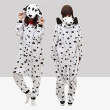 Unisex Adult Anime Dalmatian Dog Polar Fleece Cosplay Costume Pajamas Party Onesies Pyjamas Sleepwear Fancy Dress One-Piece