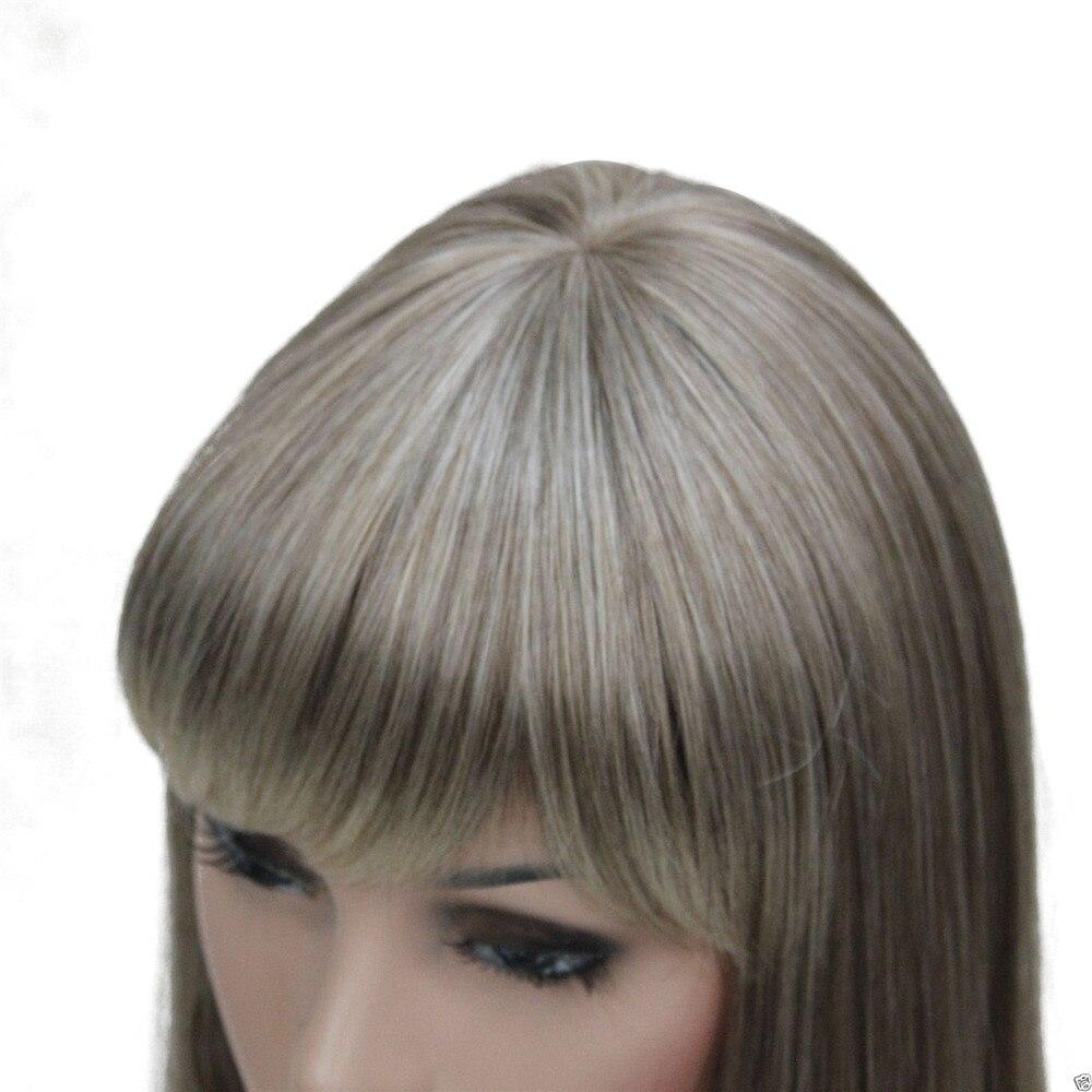 Image 2 - Perruque synthétique complète Ombre Blonde longue lisse  Perruque à frange soignée pour femmes, perruque Ombre pour femmesSynthétique Aucun-Dentelle Perruques   -