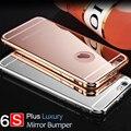Kasatin 6 6 s marca de luxo subiu espelho de ouro bumper case para a apple iphone 6 s plus alumínio tampa de proteção 6 s plus 5.5 com logotipo