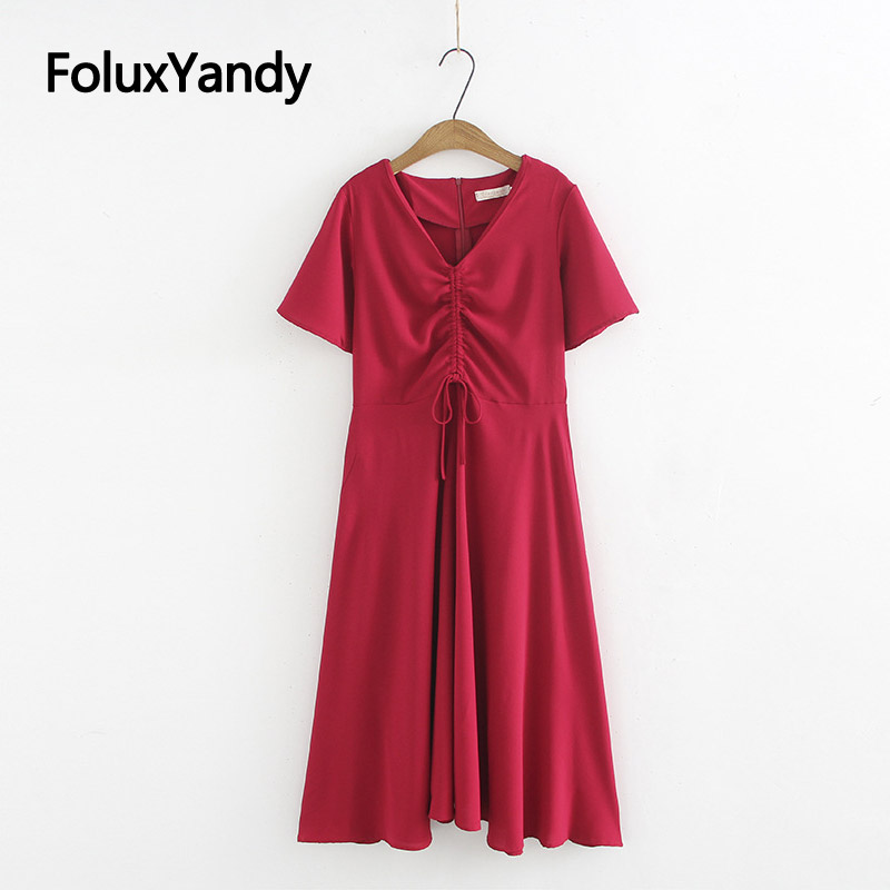 Red Dress New 2019 Casual Women V neck Midi Summer Short Sleeve A line Dress Plus Size Vestidos KKFY3465 in Dresses from Women 39 s Clothing
