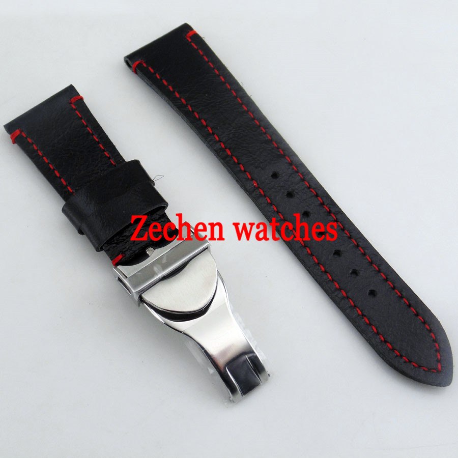Black Leather Fabric/Canvas Watch Strap 316L Steel Deployment Buckle Watch 22mm band strap все цены