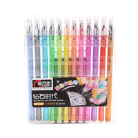 12PCS LOT Stationery Multicolour Unisex Pen Diamond Water Based Pen 0 5mm Pen Needle FREE SHIPPING