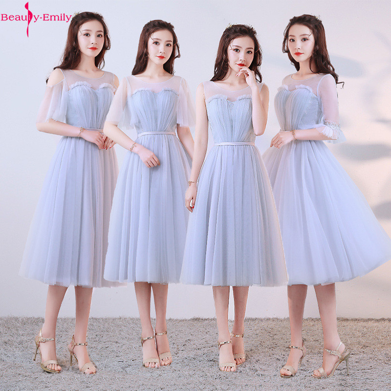 2019 New Arrival O Neck   Bridesmaid     Dresses   Short Creme Elegant Tea Length Formal Wedding   Bridesmaid     Dresses   Vestido   Dresses