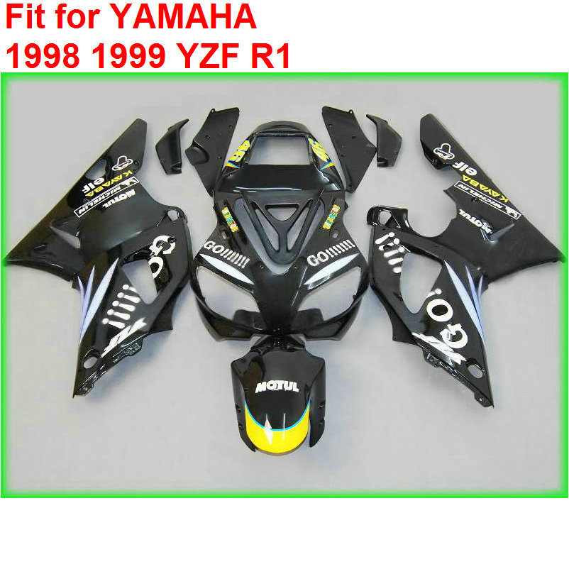 Aftermarket body parts fairing kit for Yamaha YZF R1 98 99 black fairings set YZF R1 1998 1999 MF36 top quality aftermarket abs fairings for yamaha r1 2012 kit with free shipping