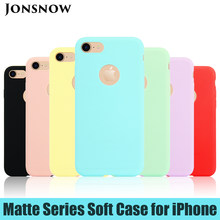 8pcs/Lot Pure Color Matte Case for iPhone 6S 7 8+ 5S Candy Color Soft Silicone Case for iPhone 11 XR XS Max Skin Gel Back Cover(China)