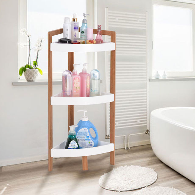 Giantex 3 Tier Corner Shelf Tower Storage Bathroom Wood Rack Stand Organizer Holder Home Furniture Hw57019