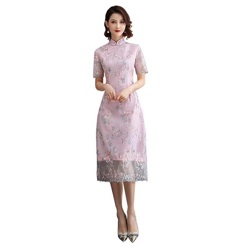 New Women Lace Sexy Vintage Aodai Cheongsam Novelty Chinese Style Mandarin Collar Dress Ladies Slim Embroidered Qipao S XXL