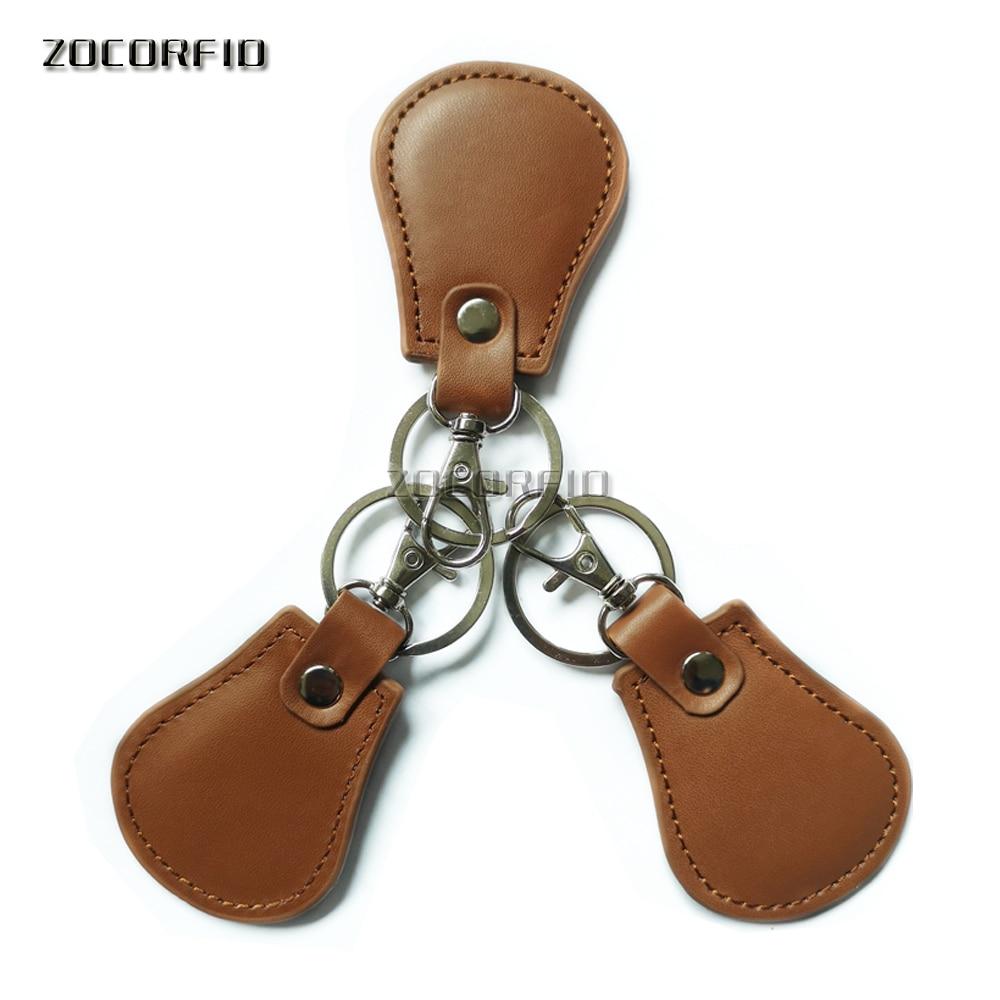 5pcs/lot 125KHZ RFID EM4100 EM Marine Brown Leather Keyfobs Tokey Tag