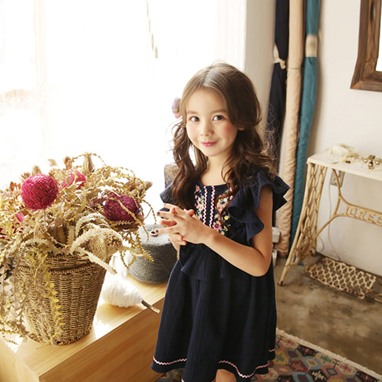 Summer New Girl Cotton Linen Cute Little Kids Flying Sleeves Dress with Embroidered National Style Pink/ Dark Blue Girls Dress ems dhl free shipping 2017 new kids summer girl mask owl cat owlette cotton cloak dress wholesale