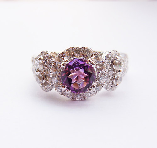 Solid 925 Sterling Silver AuthenticAmethyst Engagement Wedding Ring