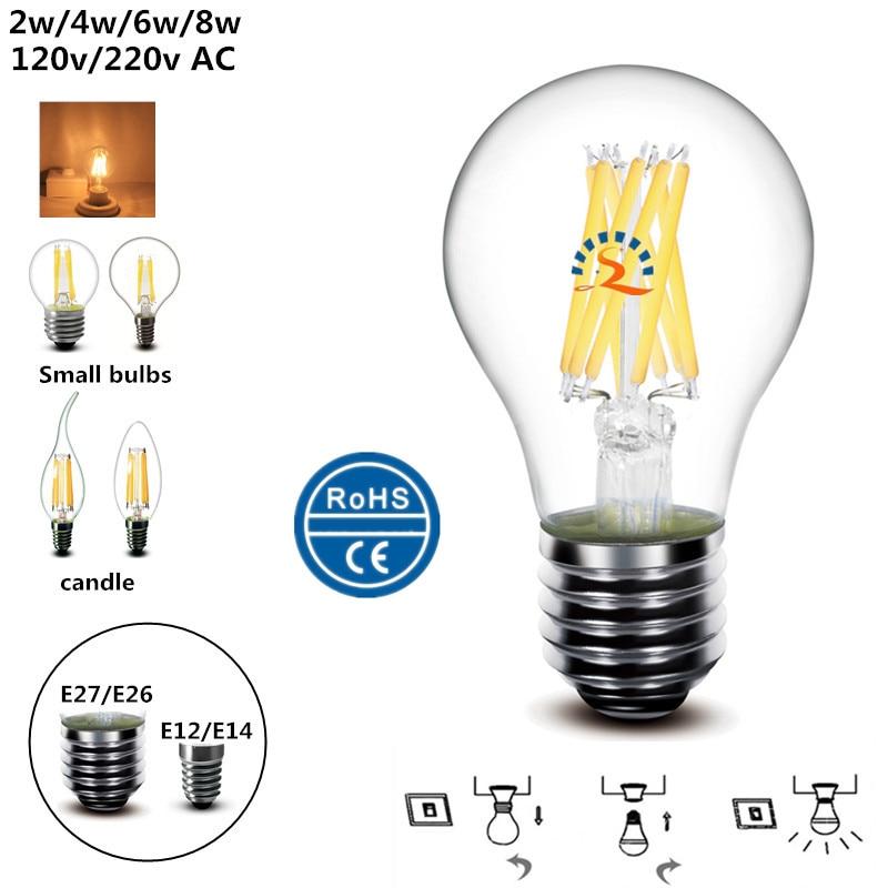 LED Filament Lamp E27/E26/E14 2w 4w 6w 8w LED Globe Bubble Ball Bulb Candle A60 G45 C35 220V 120V g95 e27 25 40 60 75 watt w 25w 40w 60w 75w incandescent equal g30 e26 silver cap chrome tip led filament bulb 4 6 8 w 4w 6w 8w