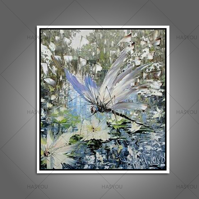 100% Hand Painted Dragonfly Oil Painting Abstract Animals Painting  Landscape Pictures Canvas Wall Art For