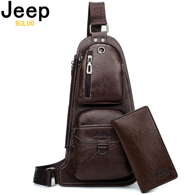 JEEP BULUO Brand Men Cross Body Bags New Hot Crossbody Shoulder Bag Famous Brand Man's Leather Sling Chest Bags Fashion Casual
