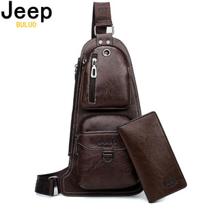 Image 1 - JEEP BULUO Brand Men Cross body Bags New Hot Crossbody Shoulder Bag Famous Brand Mans Leather Sling Chest Bags Fashion Casual