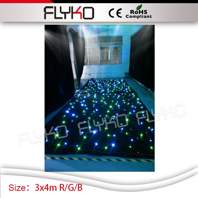 R/G/B single led lights 3m*4m high quality flash lights star light projector star curtain