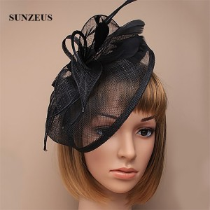 Image 3 - Wedding Hats and Fascinators Feathers Linen Elegant Bridal Hats Golden Color Womens Hat Hair Accessories SH13