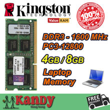 Kingston notebook laptop-speicher RAM DDR3 4 GB 8 GB 1600 MHz 204 Pin SODIMM Nicht ECC großhandel für Lenovo ThinkPad SONY Acer Dell HP
