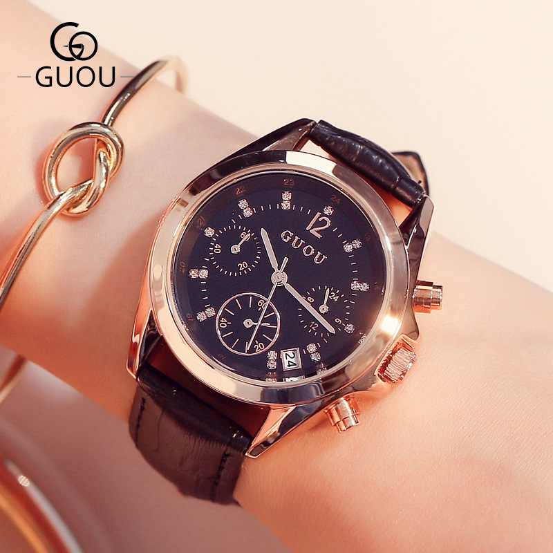 2016 New Fashion GUOU Crystal Rose Gold Genuine Leather Quartz Wrist Watch Wristwatches for Women Ladies Girls Black White OP001