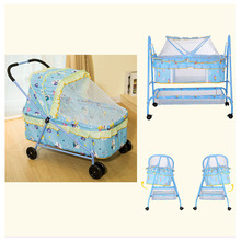 Multifunctional Iron Baby Bed with Roller Baby Crib Wheel Stroller Trolley Newborn Baby Bassinet Stroller with Mosquito Netting