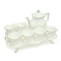 Европа Стиль костяного фарфора Кофе чашки установить полноценную день Чай Керамика чашки горшок с Керамика лоток Творческий дом посуда для