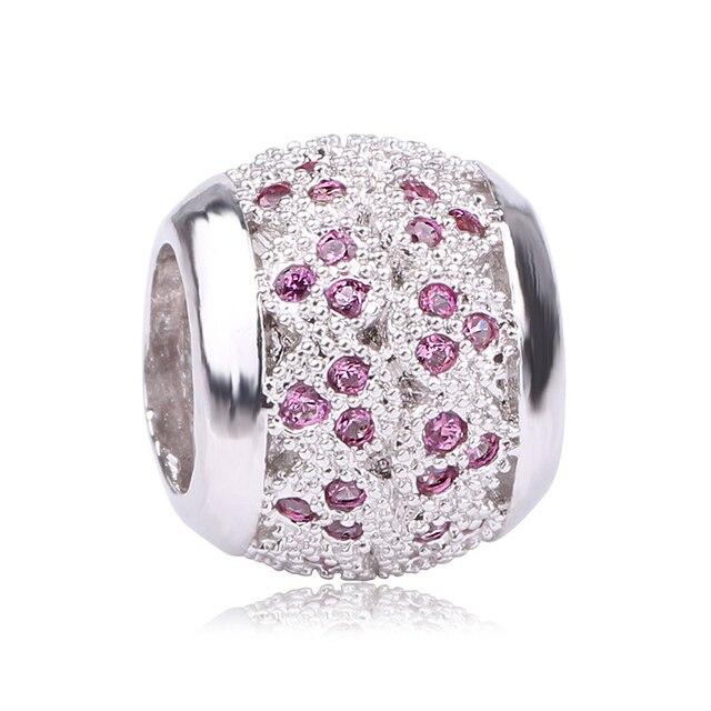 Couleur argent originale zircon cubique pavé fleur rayonnante fleur breloques de noël perles convient aux Bracelets Pandora hiver