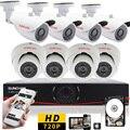 Sunchan 8 canais 1280 * 720 P AHD 960 H CCTV DVR sistema 4 pcs câmeras 1.0MP IR ao ar livre 4 pcs interior Dome DVR Kit 1 TB vigilancia kit camera de segurança security system