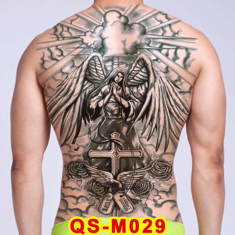 Tattoo Tribal Designs Gothic Tattoo Boys Full Back Large Tattoo Body Stickers Temporary Tattoos Men Sexy Fake Tatoo Big Water