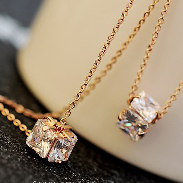 square Crystal Necklace 18K Rose Gold Plated Fashion women Pendant jewellery accessories - Sycamore Trade store